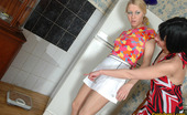 Pantyhose 1 Ottilia & Rosaline Hottie Soothing Blondie In Barely Visible Pantyhose While Stroking Her Pink Pantyhose 1