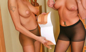 Pantyhose 1 Dominica & Hilda Hottie In Control Top Hose Tenderly Stuffing Newly Bought Tights Into Pink Pantyhose 1