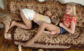 Pantyhose 1 Ottilia & Florence Vivacious Chicks In Barely Visible Pantyhose Pleasing Each Other On Sofa Pantyhose 1