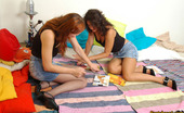 Pantyhose 1 Marion & Moni Frisky Gals Fighting With Cushions Before Kiss-N-Lick Action Through Nylon Pantyhose 1