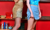 Pantyhose 1 Natalia & Muriel Leggy Gals Stripping Up To Sheer-To-Waist Hose And Playing With Hair Spray Pantyhose 1