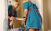 Pantyhose 1 Cora & Joyce Kinky French Maids In Smooth Hose Having A Break With Sizzling Dildo Sex Pantyhose 1