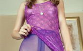 Pantyhosed 4 U Chloe Toy Blonde Cutie Chloe In Clingy Purple Dress And Shiny Pantyhose! Pantyhosed 4 U