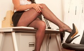 Pantyhosed 4 U Marlyn Secretary Marlyn Is Dressed To Impress, Especially Her Sexy Lacy Top Glossy Pantyhose Pantyhosed 4 U