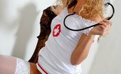 Gorgeous Nurses Blonde Nurse Sielle In White Stockings Shows Nice Ass Gorgeous Nurses
