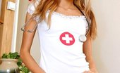 Gorgeous Nurses Smiling Blonde Nurse Katty Posing In Red Crotchless Pantyhose Gorgeous Nurses