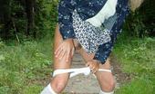 Street Piss Blonde In Knee-Highs Pees In The Park Street Piss