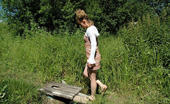 Street Piss Curly Blonde Pees In Summer Woods Street Piss