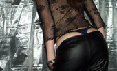 Shiny Knickers Natural Beauty Peel Off Her Black Leather Pants Shiny Knickers