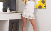 Nubiles.net Alli Hot Coed Spreads Shaved Pussy In Her Sexy White Dress Nubiles.net