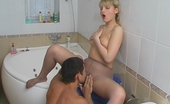 Pantyhose Screen Amelia & Igor Blondie In Wet Pantyhose Can'T Restrain Her Carnal Passion In The Bathroom Pantyhose Screen