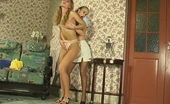 Pantyhose Screen Diana & Florence Fiery Girlfriends In Sheer-To-Waist Hose Indulge Their Lust In Lip Service Pantyhose Screen