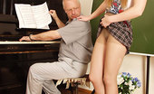 Old Man School Aged Tutor Fails To Turn His Limpie Into A Boner And Ends Up Banging His Teen Student With Strap-On Old Man School