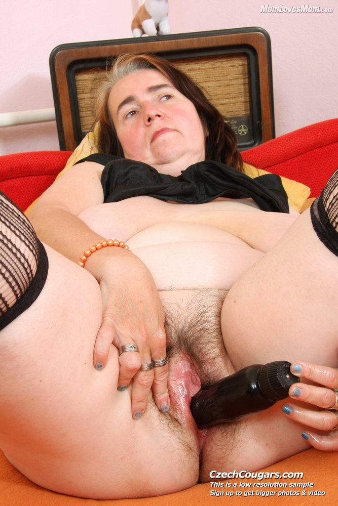 image Mature mom hedvika hairy pussy dildo drilling