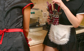ePantyhose Land Sveta & Liloo Kinky Maids In Flesh-Colored Pantyhose Playing With Spoons In The Kitchen ePantyhose Land