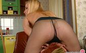 ePantyhose Land Alina Gorgeous Blonde Babe With Well-Shaped Body Posing In Silky Black Pantyhose ePantyhose Land