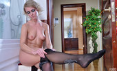 ePantyhose Land Abel Frisky Babe Tears Her Black Patterned Pantyhose Aching To Try On New Ones ePantyhose Land