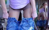 ePantyhose Land Barbara Leggy Gal In Control Top Pantyhose Tries To Pick Up The Sexiest Denim Skirt ePantyhose Land