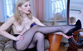 ePantyhose Land Ninette Fair-Haired Babe Chooses Black Control Top Pantyhose Instead Of Classy Ones ePantyhose Land