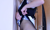 ePantyhose Land Paulina Girl In Glasses Shoves Her Hand Under A Nylon Waistband For A Finger Fuck ePantyhose Land