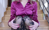 ePantyhose Land Barbara Foxy Office Babe Strips Down To Her Crotchless Lace Pattern Bodystocking ePantyhose Land
