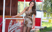 ePantyhose Land Silvia Dazzling Chick Hikes Up Her Hot Leopard Dress To Show Sexy Black Pantyhose ePantyhose Land