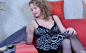 ePantyhose Land Alina Dolled-Up Curly-Head Slowly Changes Out Of Her Black Sheer-To-Waist Tights ePantyhose Land