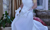 ePantyhose Land Carrie Sexy Bride Wears Her Wedding Gown With Gloves And White Back Seam Pantyhose ePantyhose Land