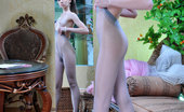 ePantyhose Land Molly Breathtaking Hottie In A Floor Length Gown Tries On Her White And Grey Hose ePantyhose Land