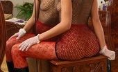 ePantyhose Land Nora Fancily Dressed Chick Totally Freaks Out In Her Sultry Red Seamless Tights ePantyhose Land