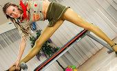 ePantyhose Land Stephana Upskirt Scout Girl Shows Off Her Long Legs And Crotch Thru Khaki Pantyhose ePantyhose Land