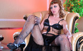 ePantyhose Land Aubrey Exotic Dancer Plays With Laddered Fashion Hose And Puts On New Pink Nylons ePantyhose Land