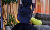ePantyhose Land Gertrude Glamour Lady In A Vintage Dress With Long Gloves And Grey Seam-N-Heel Hose ePantyhose Land