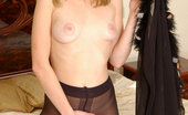 ePantyhose Land Paulina Blonde Sexpot In Fancy Mock Hold-Up Pantyhose Stuffing Her Wet Pussy Hole ePantyhose Land