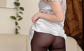 ePantyhose Land Liloo Topless Beauty Tries On Several Gowns With Her Wonderful Black Opaque Hose ePantyhose Land
