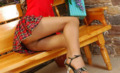 ePantyhose Land Stephana Slim-Legged Coed Stealthily Changes Into Her Glam Seam And Heel Pantyhose ePantyhose Land