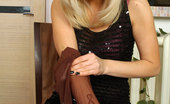 ePantyhose Land Ellen Hot Party Girl Changes Her Glittery Print Tights For More Classy Brown Ones ePantyhose Land