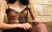 ePantyhose Land Cora Eye-Catching Brunette In Glittery Fashion Pantyhose Slowly Stripping Naked ePantyhose Land