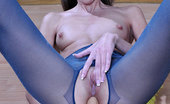ePantyhose Land Florence Upskirt Teaser Flashes Her Blue Glittery Pantyhose Before Solo Anal Play ePantyhose Land