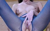 ePantyhose Land Florence Upskirt Teaser Flashes Her Blue Glittery Pantyhose Before Solo Anal Play ePantyhose Land