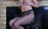 ePantyhose Land Amelia Dressed For A Date Babe Gets Nasty In Her Black Tights With A Colored Print ePantyhose Land