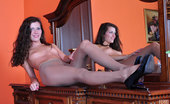 ePantyhose Land Keith Slim-Legged Brunette In A Little Black Dress And Tan Tights Fucks Her Pussy ePantyhose Land