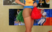 ePantyhose Land Benett Lewd Ponytailed Cheerleader In Flesh-Colored Pantyhose Playing With A Ball ePantyhose Land