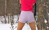 ePantyhose Land Liloo Teasing Chick In Nylon Pantyhose Craving For Sledging In The Winter Forest ePantyhose Land