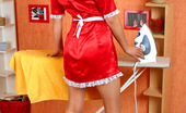 ePantyhose Land Frances Filthy Maid In Silky Pantyhose Ironing Before Teasing Right On The Floor ePantyhose Land