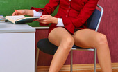 ePantyhose Land Elena Luscious Teacher In Smooth Pantyhose Fondling Her Boobs In The Classroom ePantyhose Land