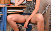 ePantyhose Land Helena Stunning Chick In Flesh-Colored Pantyhose Polishing Her Pussy On The Stool ePantyhose Land