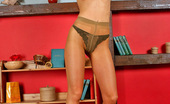 ePantyhose Land Sarah Awesome Blonde Babe Undressing Up To Her Pantyhose While Looking For A Book ePantyhose Land
