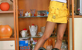ePantyhose Land Hannah Skittish Chick In Sexy Tights Playing With Vacuum Cleaner While Tidying Up ePantyhose Land