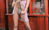 ePantyhose Land Arabella Shy Chick In Sheer Pantyhose Undressing And Flashing Her Tiny Pink Pussy ePantyhose Land